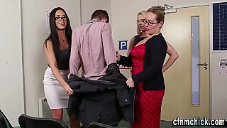 Clothed brit cougars tug